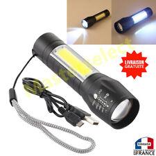 Lampe torche à main de poche rechargeable sur USB puissante forte COB XPE