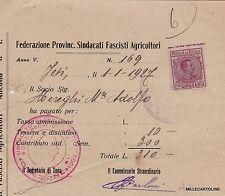 # JESI: 1927 FEDERAZ. PROVINCIALE SINDACATI FASCISTI AGRICOLTORI - RICEVUTA