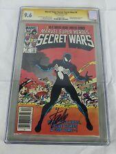Marvel Super Heroes Secret Wars #8 GCG 9.6 Spider-Man Stan Lee Signed- Newstand