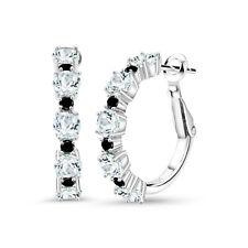 2.76 Ct Round Sky Blue Aquamarine Black Diamond 925 Sterling Silver Earrings