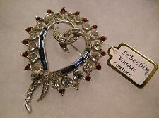 Vintage Collectors Red, White & Blue Rhinestone Heart Shaped Brooch