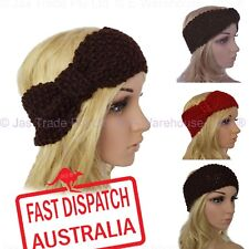 Crochet Turban Headband Ear Warmer  Hair Band Knit Knitted Bow Seed Stitched
