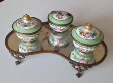 Bel encrier de forme oignon XIX-XXéme, porcelaine laiton et miroir en fond