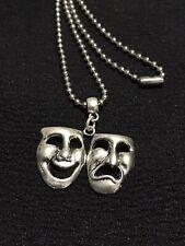 Comedy Tragedy Theatre Amatuer Dramatics Drama Masks Pendant & Chain Unisex