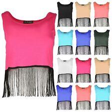 Ladies Womens Sleeveless Tassel Fringe Hem Muscle Back Vest T Shirt Cropped Top