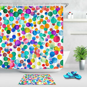 Shower Curtain Set Watercolor Confetti Colorful Circles Waterproof Fabric Hooks