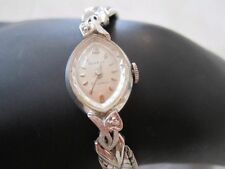 Vintage BENRUS Diamond Point Ladies Wrist Watch 14K Gold Face 10K Band