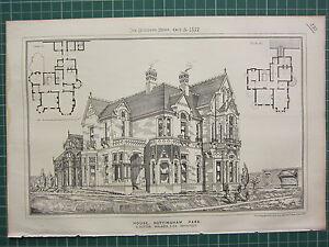 1877 DATED ARCHITECTURAL PRINT ~ HOUSE NOTTINGHAM PARK ~ S. DUTTON WALKER