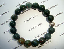 FENG SHUI - 10MM BLOODSTONE MALA BRACELET WITH 925 SILVER BEAD