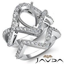 Round Diamond Engagement Ring Pear Bridal Set 14k Gold White Pave Setting 1.4Ct