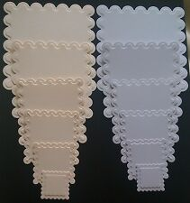 DIE CUT/EMBOSSED SCALLOPED SQUARES BIRTHDAY/WEDDING/ANNIVERSARY CARD TOPPERS