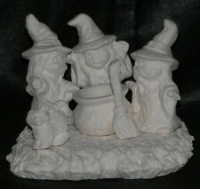 Nowells Ceramic Bisque 3 Little Witch's Scene Ready to Paint