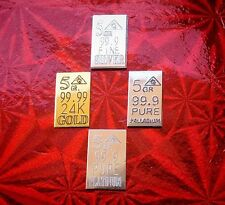 Gold, Silver Platinum, Palladium, 5GRAIN Combo BULLION MINTED FOUR Bars +