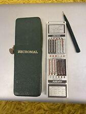 """More details for vintage faber-castell """"becromal"""" 67/54rb slide rule leather? case german & pen"""