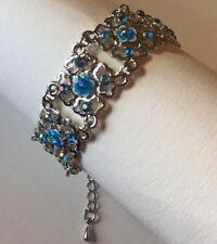 Blue Filigree Enamel Bracelet . Silver Chain Lobster Clasp Stones Sparkle A009