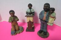 Set Of 3 African American Ceramic Figurines Preacher Father Daughter Boy Praying