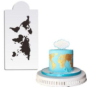 World Map Design Cake Stencil Plastic Cake Border Stencils DIY Drawing Lace p
