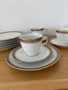 Service Kaffee Porzellan Mitterteich Bavaria Kobalt Gold Rand 20 Teile Unbeschäd
