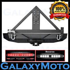 Rear Bumper+Swing Tire Carrier Mount+Smoke Len LED light fit 07-18 Jeep Wrangler
