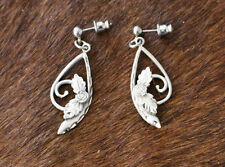 Handcrafted Earrings Pewter Drop Diamond Cut Fashion Floral Leaves