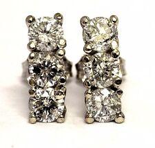 NEW 14k white gold 1.25ct I1 H 3 stone round stud diamond earrings cluster bar