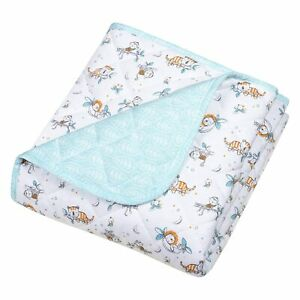 Trend Lab Quilted Jersey Baby Blanket Crib Quilt Safari Nap Time Reversible