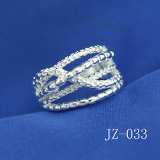 Wholesale 925 Sterling Silver Plated Women Fashion Wide Face Rings SIZE Open 048