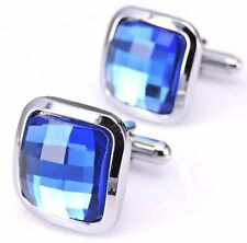 NEW French Business Suit Men`s Cufflinks Cuff Link Blue Sapphire Crystal Wedding