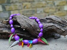 Vintage Costume Purple Fruit jewellery Necklace .