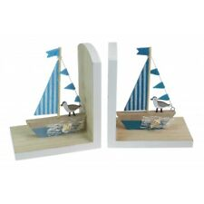 Pair of Yacht Sailing Bookends Set of 2 Nautical Coastal Themed White and blue