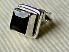 SINGLE STERLING SILVER 8mm.STUD EARRING with a FACETED GARNET STONE £5.50 NWT