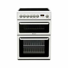 Hotpoint HAE60P 60cm Twin Cavity Electric Cooker with 4 Zone Ceramic Hob - White
