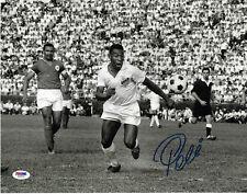 Pele Signed 11x14 Soccer Photo Santos Dribble - Autographed PSA/DNA COA