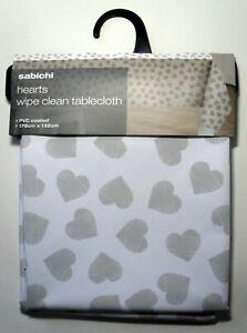 PVC Coated Tablecloth Grey Hearts, Wipe Clean Table Cloth 178cm x 132cm Sabichi