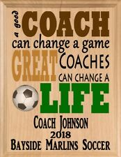 Great SOCCER COACH GIFT Plaque PERSONALIZED Custom Coaches Appreciation Award