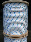 "NovaTech XLE Halyard Sheet Line, Dacron Sailboat Rope 3/8"" x 50' White/Blue"