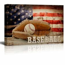 Baseball Americana - Patriotic Ball and Glove Sport Grunge Flag - Canvas - 24x36