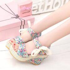 Women Bohemia Wedge High Heels Lace Up Platform Sandals Summer Floral Shoes Size