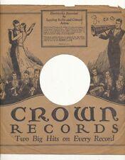 78 RPM Company logo sleeves-PRE-WAR- CROWN (1930s)