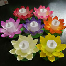 LED Wishing Light Floating Powered Lotus Flower Pool Light Garden Landscape Lamp