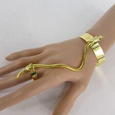 Women Silver Gold Metal Snake Cuff Wrist Bracelet Hand Chain Fashion Slave Ring