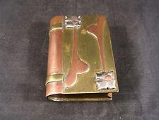 Ancien briquet de Poilus, forme de livre, décoré, art des tranchées, WW1