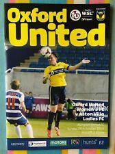 Football Programme: Oxford United Women v Aston Villa - Played 26th October 2014