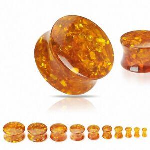 Ear Plug Stone Amber Synthetic