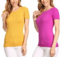 New Women's Juniors Stretchy Textured Short Sleeve Fitted Top w/ Round Neck