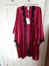 Coemi Women S/M 10/12 Silk Satin Cherry Black Lightweight Robe Designer Lingerie