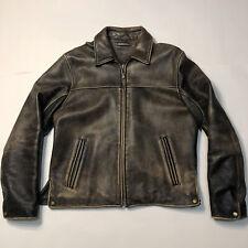 Men's M Medium Wilsons Leather Jacket Broken Worn Motorcycle Coat Outerwear