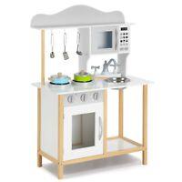 Little Sous Children Kitchen Playhouse,Pretend Role Play Set Toy Wooden Kitchen