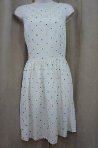 Kensie Dresses Sz M Cream Blue Polka Dot Evening Cocktail Party Dinner Dress