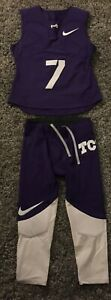 Team Issued New Nike TCU Horned Frogs Padded Football Jersey #7 & Pants L
